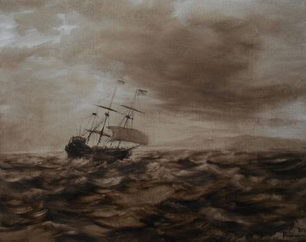 Land Ahoy wash oil paint by Boias
