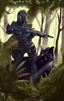 Bloodsport 1 Sci-fi hunter with his pet by Sinkevic