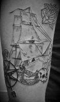 BOAT ROSE AND SKULL by HIGHTRIP