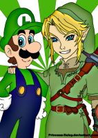 The green heroes: Luigi-Link by Princesa-Daisy