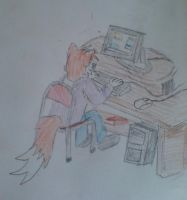 Turbo on his computer by WhippetWild