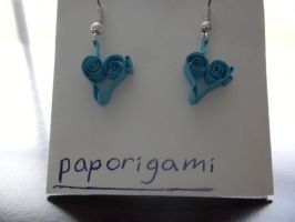 Quilled Earrings- Musical Hearts by paporigami