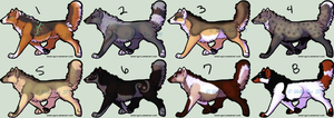 Wolves by 8 - Set 1 SOLD OUT by moonlite-adopts