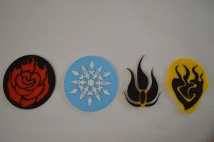 all team rwby emblem necklaces by TheWillett
