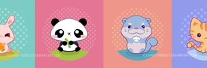 Buttons - Cute Animals by ayashige-doodles