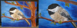 Chickadee Painting by Pencil-Only