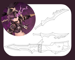 Insane Black Rock Shooter's weapons' template by SamuiCosplay