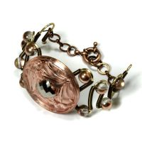 Bracelet Art Nouveau Peach Dragonfly by CatherinetteRings