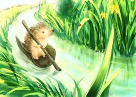 Hedgehog on a tiny river by Neesha
