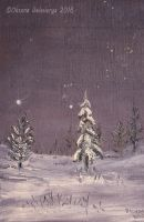 Winter Night -oil on wood by Oksana007