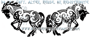 Maori Horse And Wolf Design by WildSpiritWolf