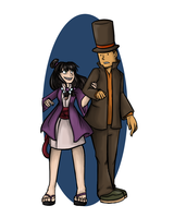 Professor Layton and Maya Fey by Doodleniks