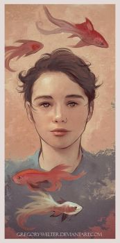 Random portrait with fishes by Everybery