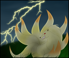 Ninetails scared by a thunder by ForeverSonu