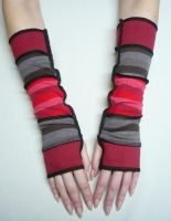 Funky armwarmers red brown by Estylissimo