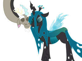 Queen Chrysalis and Discord by doggyandi