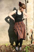 Brown stripes skirt by masque242