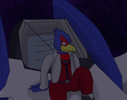 Falco on the arwing by LukeTheeMewtwo
