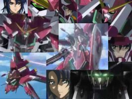 Infinite Justice and Athrun by SilverStarSeeker
