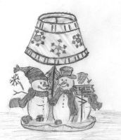 Snowman lamp by caitiedidd