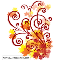 Free Autumn Swirl Vector by 123freevectors
