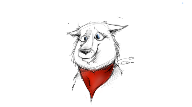 Red scarf dog by MilleB