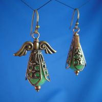 Copper and Green Glass by Llyzabeth