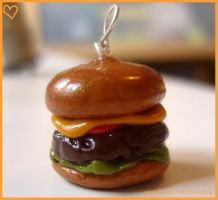 cheeseburger charm by citruscouture
