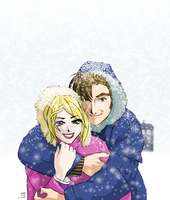 The Doc and Rose in the Snow by alamedyang