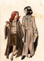 Snape and Lily. by SteakandUnicorns