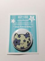 Star Patch Kitty 1 inch Pinback Button by AudreyMillerArt