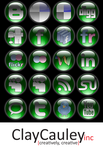 Green Orb Social Media Icons by claycauleyinc