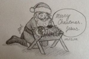 Santa at the Manger by Sunbeargirl