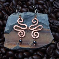 Spiral Swirl Copper Earrings by DreamingDragonDesign