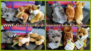 WWF Grizzly, Red squirrel and fox 8in by Vesperwolfy87