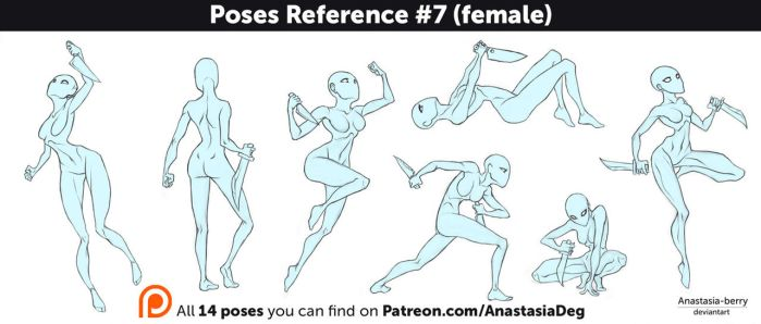Poses Reference #7 (female) by Anastasia-berry