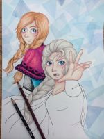 WIP - Elsa and Anna by MewHarmonia