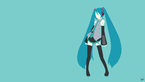Hatsune Miku (Vocaloid) Minimalist Wallpaper by greenmapple17