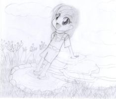 Girl sitting by a Pond by t0m0y04evr