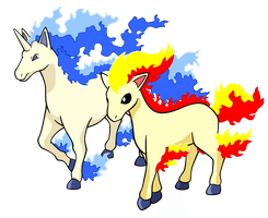 Shiny Rapidash and Ponyta by sliverwolf018