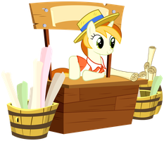 Peachy Pitt - Care to buy something, friend? by bobsicle0
