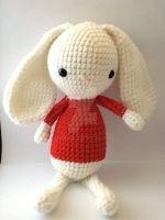 White Huggable in Red Sweater by MoonYen