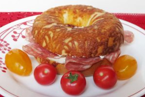 Cheese Bagel with Genoa Salami and Cream Cheese by Kitteh-Pawz