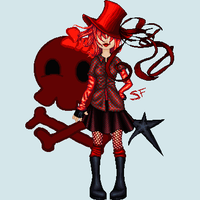 A hat,squares and red by stephie-anna