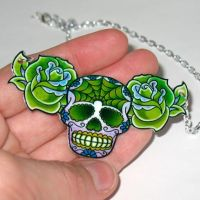 Mutant Green Sugar Skull by Horribell-Originals