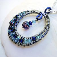 Blue Wire Wrapped Pendant by bugsandbears