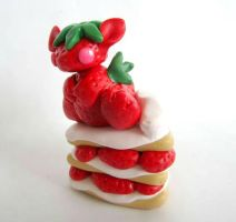 Strawberry Shortcake Dragon in Polymer Clay by apolloxdesigns