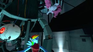Mary and Pinkie play with Glados by Commodor-Richter