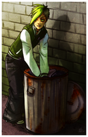 Digging in the Trash by ZombieDaisuke