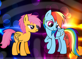 Scootaloo and Rainbow Dash. by jazzy-rose-hxc